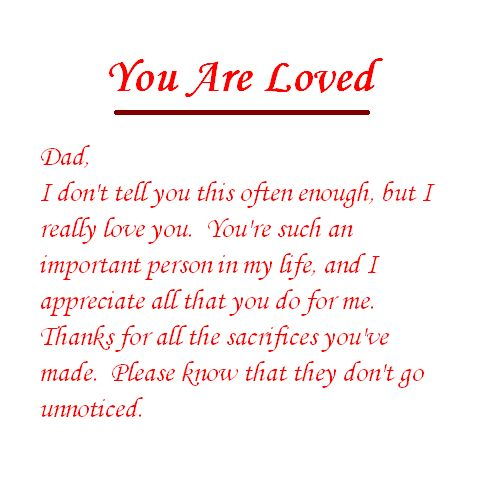 Dad Love Quotes | Let Your Dad Know How Important He is to You With This Love Note