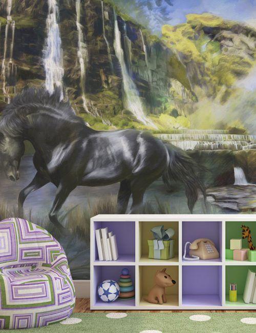 Carta da Parati Cavallo e Paesaggio Carta da Parati Fotomurale a Tema Natura con Animali