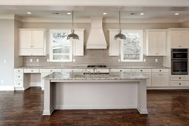 Dove White Shaker Style Cabinets Oversized Gray Island Restoration Hardware Chrome Pendants