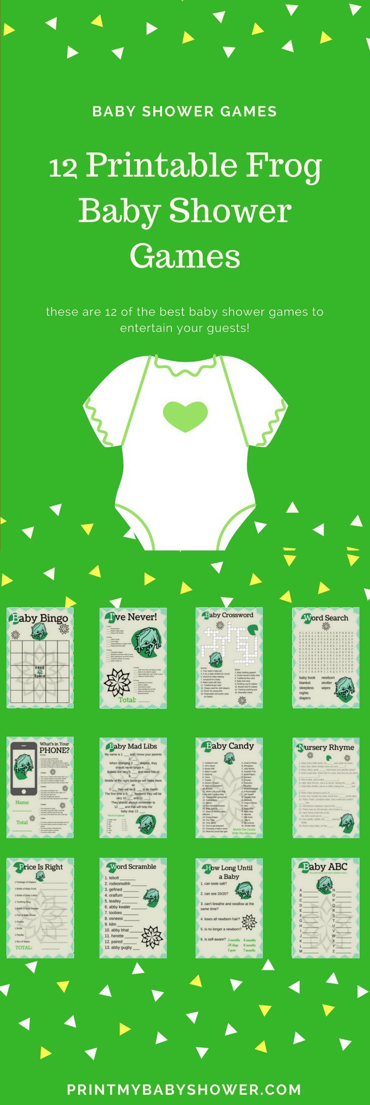 free printable famous couples bridal shower games%0A Frog Baby Shower Printable Game Set
