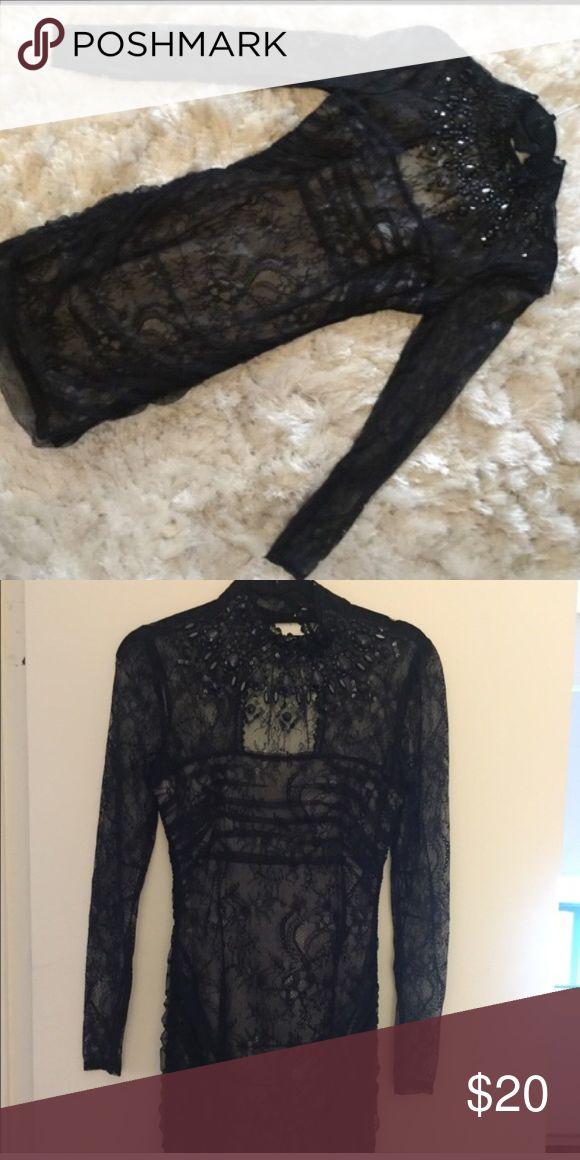 Bebe xs dress Black sexy formal bebe dress/lace/long sleeve bebe Dresses
