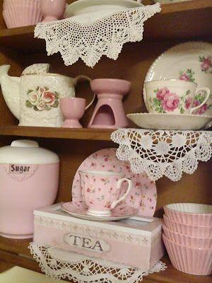 sweet pink shabby shelf decor