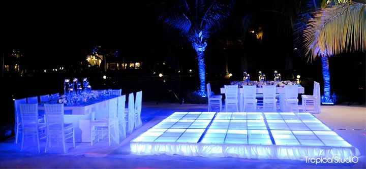 Dreams Palm Beach Punta Cana Beachside wedding reception at night.....might actually consider this the set up is amazing & cooler weather @ night