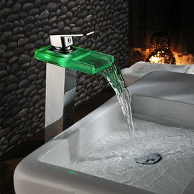 Color Changing LED Waterfall Bathroom Sink Tap (Chrome) T0818HF http://www.tapforyou.co.uk/bathroom-sink-taps/led-bathroom-sink-taps/color-changing-led-waterfall-bathroom-sink-tap-chrome-t0818hf