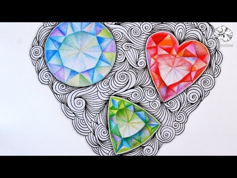 How to Draw Gems | Zentangle Inspired Jewels and Faceted Gemstones - YouTube