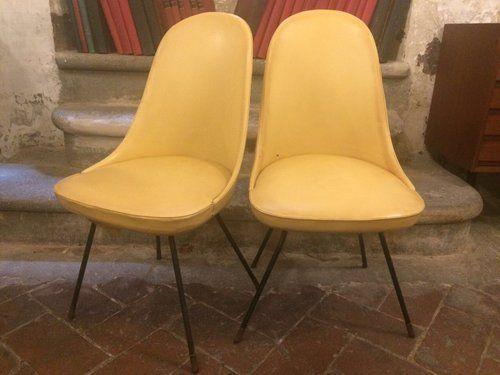 Coppia di sedie in pelle anni 50 Lenzi