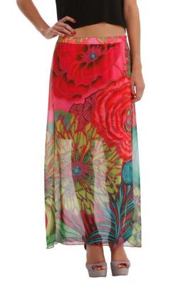 Desigual women's Brenda long skirt. Made of semi-sheer gauze fabric, this skirt includes a knee-length cotton lining and a really cool floral print.