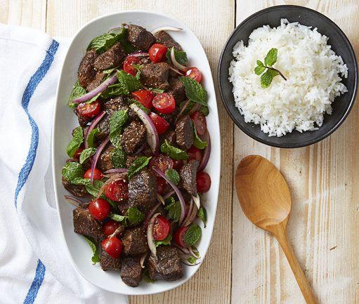 Soya Braised Beef & Tomato Mint Salad