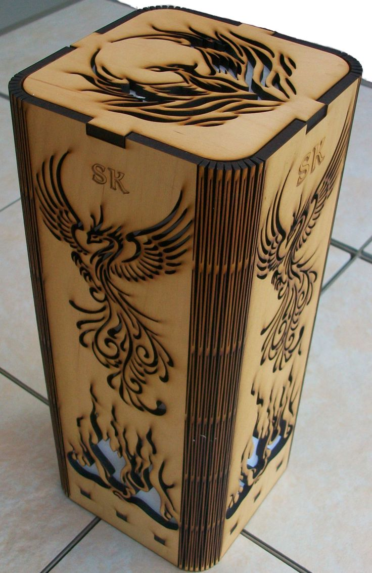 Personalized Phoenix Rising laser cut, laser engraved lamp. Avalilable at my Etsy shop. This lamp is made with a natural finish Maple wood.