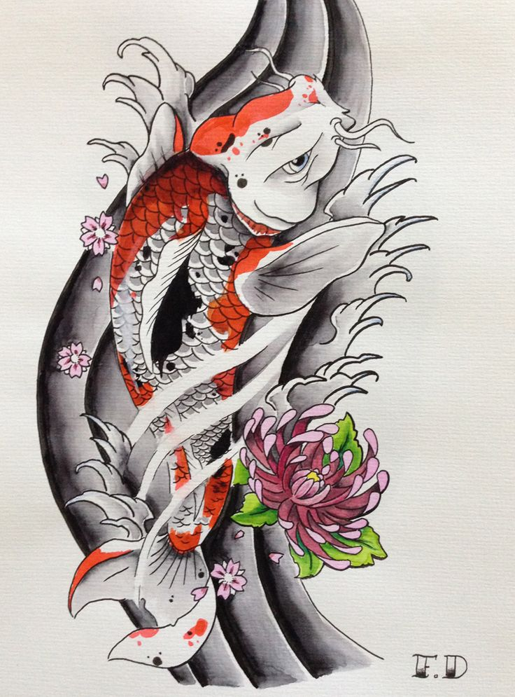 Florian duenker japanese koi tattoo flash asia tattoo for Japanese koi fish drawing
