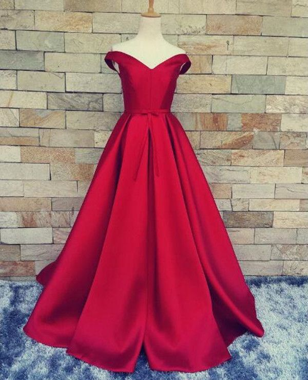 Off Shoulder Satin Prom Gowns,New Fashion Red Evening Dresses,A Line Floor Length Wedding Gown
