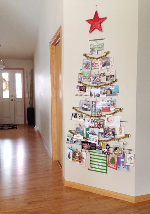 Washi tape, a tinsel garland, tacks, and a red star create a vibrant holiday card tree.
