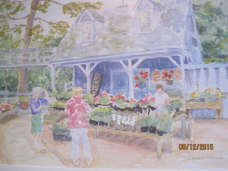 "Lynchburg VA artist Stewart Morris, ""Farm Basket Shed"", watercolor at the 2015 Lynchburg art Festival"