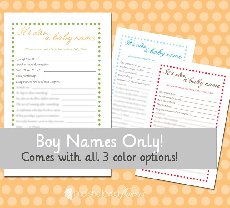 Another Name For A Baby Shower Part - 24: Itu0027s Also A Baby Name Game FOR BOYS -- DIY Printable Baby Shower Game.