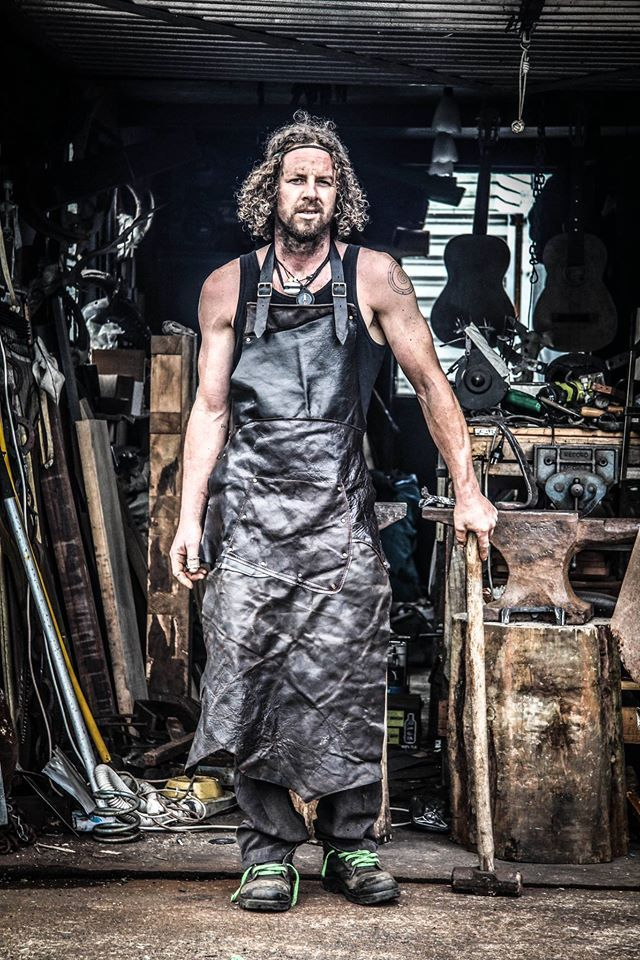 Leather apron for the man who works with fire, stone and blades.  Handcrafted by leather artisan Kay Buchanan