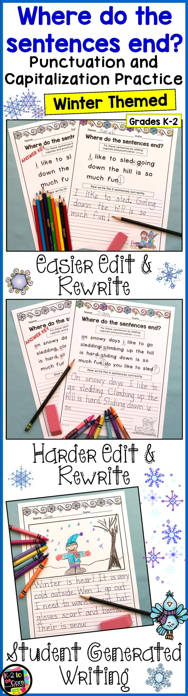 Provide your kindergarten, first, or second grade students with reading, writing, capitalization, and punctuation practice with these NO PREP differentiated (three levels) editing sheets. Each page has 2 or 3 winter-themed sentences with missing capitals and punctuation. Your students' job is to figure out where the sentences end, edit the sentences, and then rewrite them with correct capitalization and punctuation. Click to find out more!
