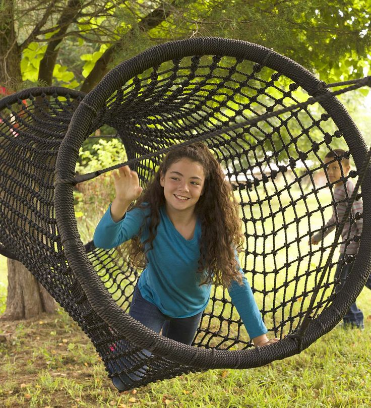A straight shot to adventure, our rope-net tunnel is a safe yet exciting way for kids to climb—horizontally. It's a great new way for kids to challenge arms and legs to keep moving; or they can lie back, swing, and dream.