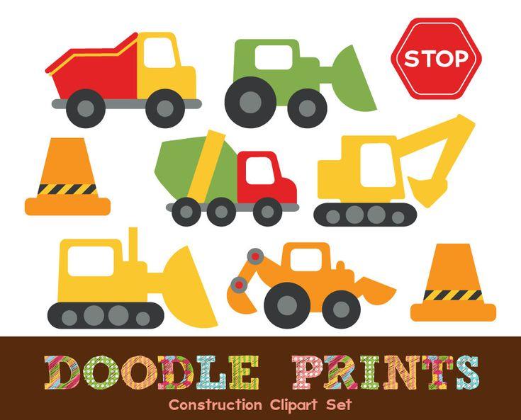 Digital Clip Art Printable - Construction Design - Trucks, Stop Signs, Cones, Garbage Truck, Bulldozer - Construction Clipart. $5.00, via Etsy.