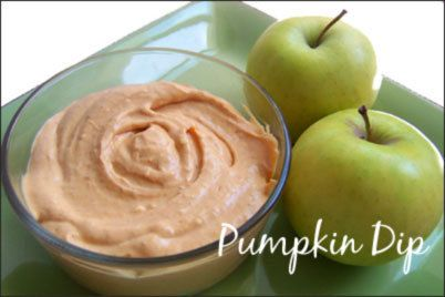 Pumpkin, cream cheese, and cinnamon dip - with apples and graham crackers for a Fall themed baby shower. YUM.
