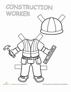 Construction Worker Paper Doll Worksheet