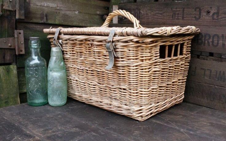 Lovely Vintage Lidded Wicker Pigeon Basket Box Trunk; Rustic Hamper