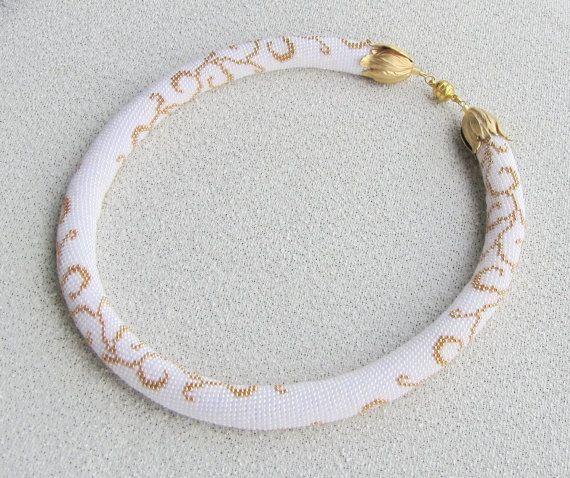 Beaded crochet necklace Gold monogram by DolgovaSvetlana on Etsy,