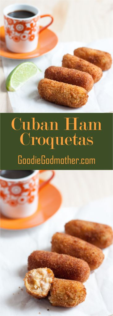 Travel to Miami not required. Make Cuban croquetas de jamon (ham croquettes) at home with this easy to follow recipe. You can even make them in advance and cook from frozen! Croquetas are a perfect afternoon snack paired with Cuban coffee, light lunch, appetizer, or party food idea. * GoodieGodmother.com