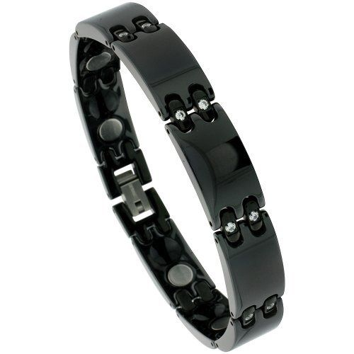 Ceramic Black Magnetic Therapy Bar Bracelet w/ Cubic Zirconia Stones, 1/2 inch wide, 8.25 inches long Sabrina Silver. $44.95