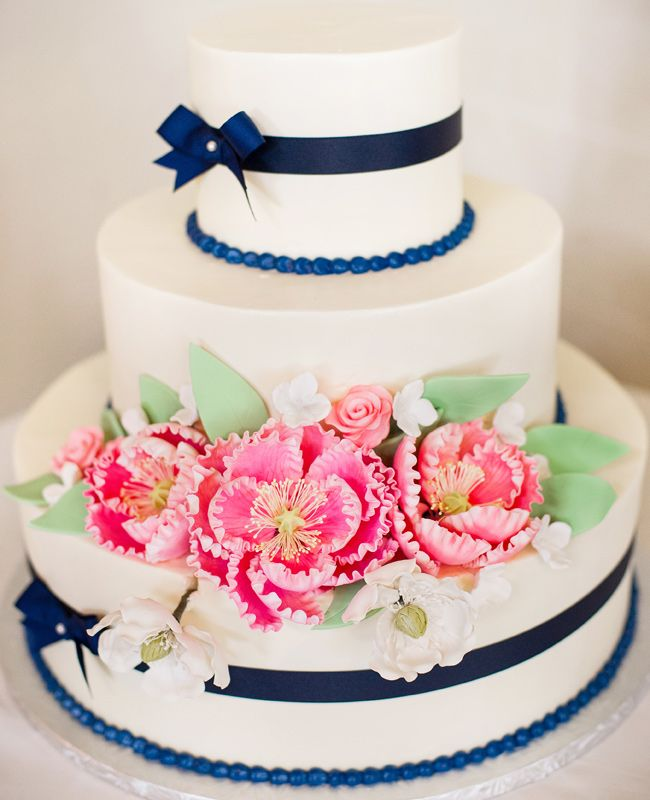 Cake idea, without the ribbons and with blue flowers.