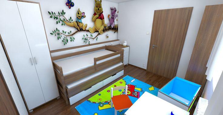 Návrh a vizualizácia nábytku a usporiadanie detskej izby. Sčasti podľa Feng-shui. Biele steny