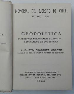 Paraíso del Libro Usado: Geopolitica . Augusto Pinochet Ugarte . 1968