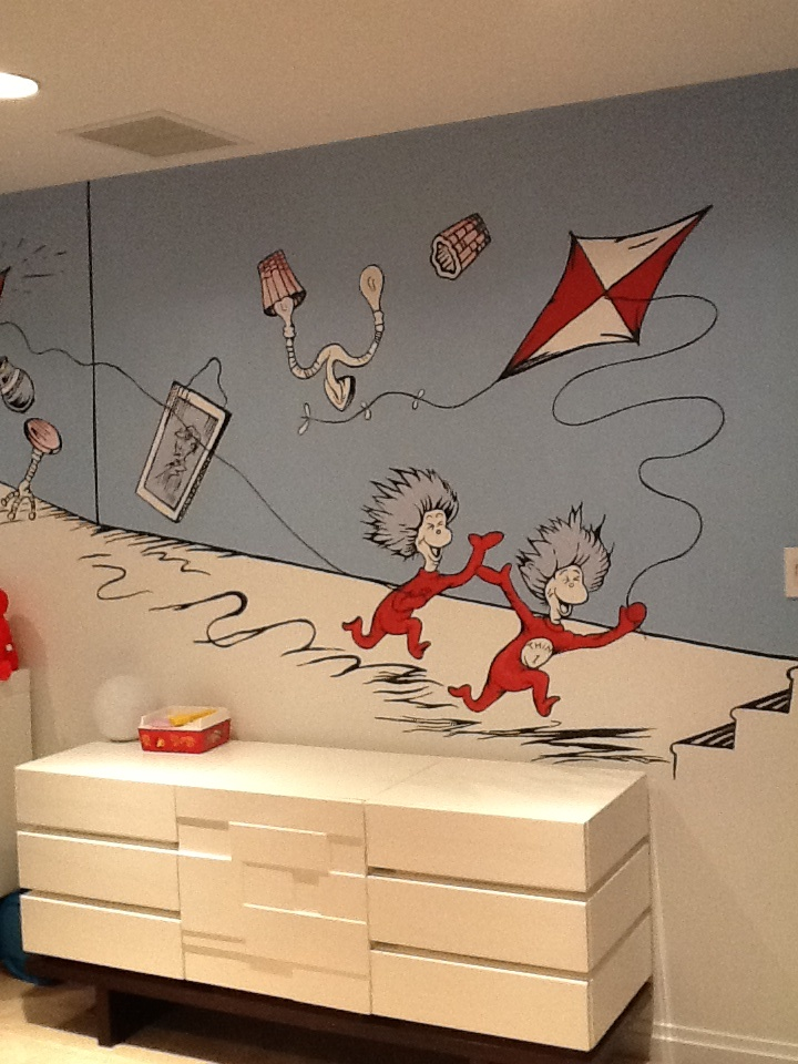 Dr seuss nursery wall mural dr seuss bedroom olimac for Dr seuss mural nursery