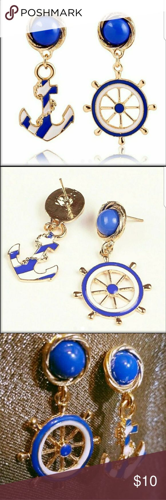 Women's Asymetrical nautical Earrings New Blue white and gold anchor and ship wheel earrings Asymetrical Jewelry Earrings