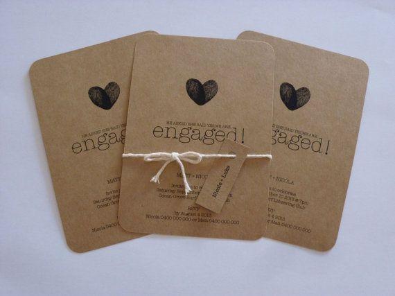 Rustic Kraft Paper Engagement Invitation Thumbprint Custom Made to Order on Etsy, $2.00 AUD