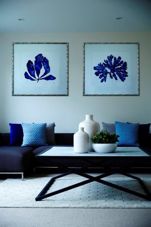 We selected tranquil blues to set the tone for this serene Avalon living room.