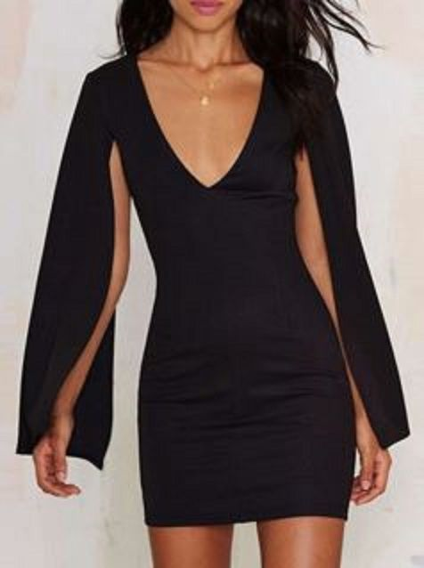 Love the Cleeves! Alluring Plunging Neck Long Sleeve Solid Color Bodycon Women's Dress #Sexy #LBD #Little #Black #Dress #Fashion
