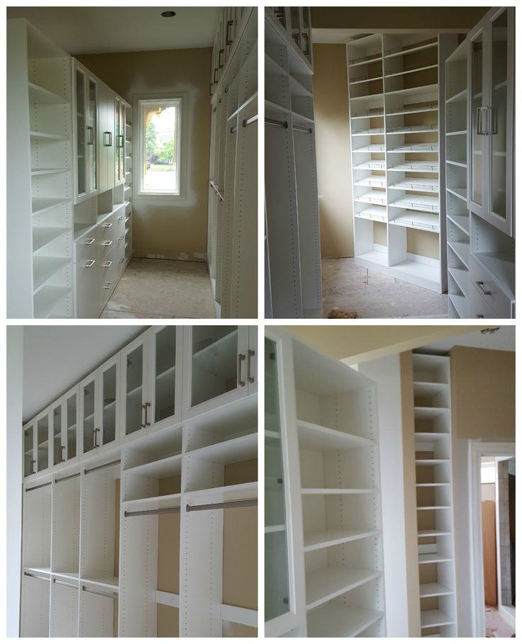 White melamine walk-in closet with hanging, shoe shelves, adj. shelving, doors, and drawers.