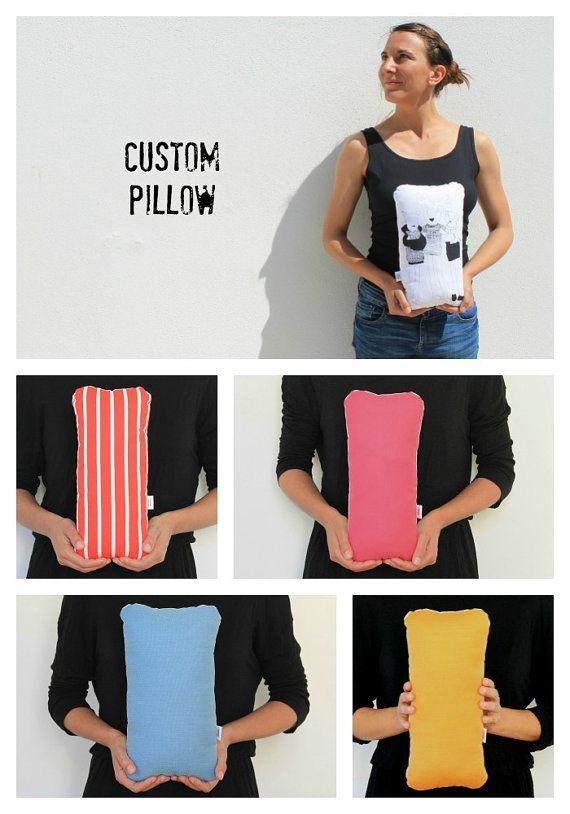 Custom handmade Animals pillow, screen printed illustrated cushion, stuffed animal nursery home decor, collectible personalized softies