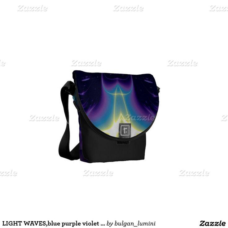 LIGHT WAVES,blue purple violet white Messenger Bags