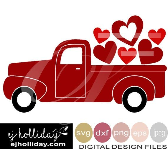 Download Love Truck Svg, Valentine's Cut File, Cricut, Silhouette, Svg, Dxf PNG