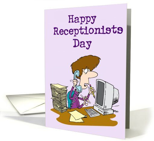 Happy Receptionists Day (Woman on phone at PC) card (916838): pinterest.com/pin/67131850667860426