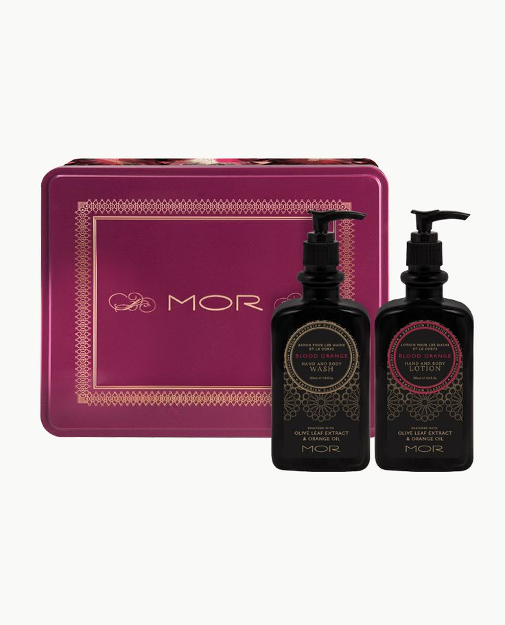 An Emporium Classics duo in Blood Orange containing an invigorating Hand & Body Wash and luxurious Hand & Body Lotion, both enriched with Olive Leaf Extract and Orange Oil, encased in an adorned keepsake tin.
