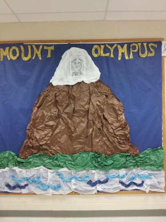 Made Mt.Olympus on 8 x 8 bulletin board. Starting with teaching about Zeus (on top of mt.) then working through family tree. Gods and goddesses added as we learn.