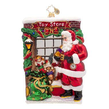 Christopher Radko Window Shopper Santa Claus in Toy Store Ornament