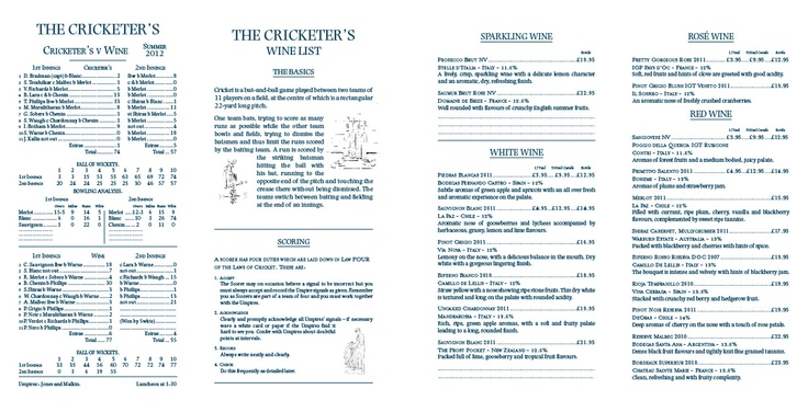 The Cricketer's Inn - A small 'local' pub wine list based on a cricket score card.