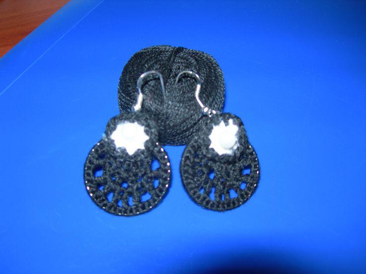 Cercei crosetati cu fir Coton perle