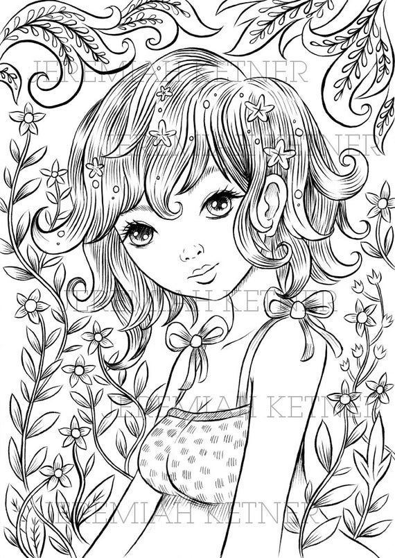 March Flowers Coloring Page Etsy Coloring Pages Cute Coloring Pages Barbie Coloring Pages