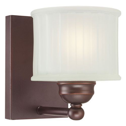 Minka Lavery 6731-167 Bathroom Light by Minka. $57.00. Finish:Lathan Bronze, Light Bulb:(1)100w A19 Med F Incand One Light Bath Fixture with Etched Glass-Box Pleat diffuser.May be mounted either up or down.