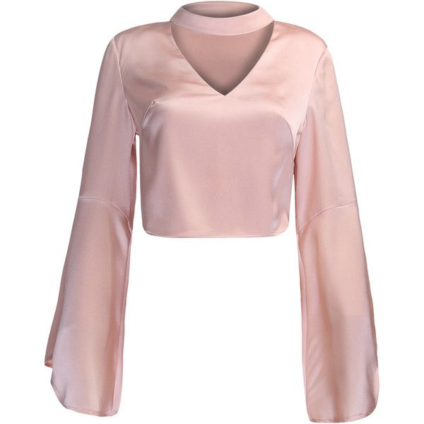 Pink V-neck Choker Detail Flare Sleeve Crop Top ($21) ❤ liked on Polyvore featuring tops, shirts, crop top, bell sleeve crop tops, long-sleeve crop tops, crop shirt, v-neck tops and polyester shirt