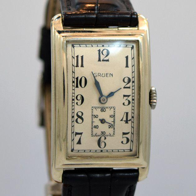 1930's Vintage Gruen 14k White Gold Rectangle Shape